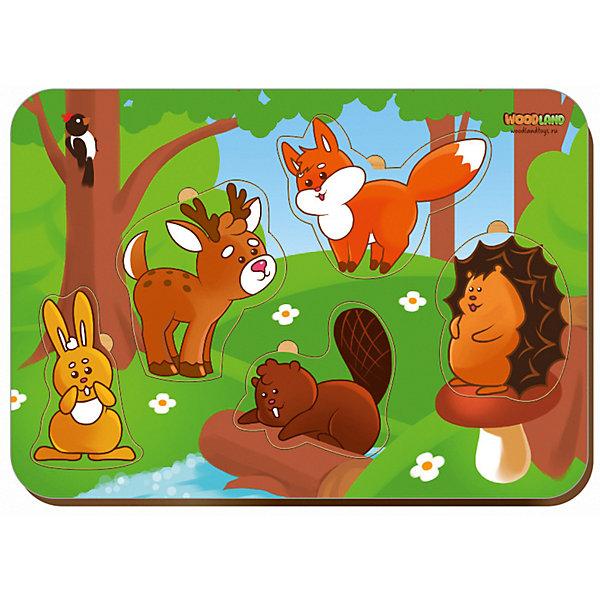 Woodland Рамка-вкладыш Woodland Лесные животные рамка вкладыш woodland 082101 монтессори геометрия 1