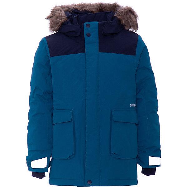 Утепленная куртка DIDRIKSONS KureВерхняя одежда<br>Характеристики товара:<br><br>• состав ткани: 100% полиамид;<br>• подкладка: 100% полиэстер, мягкая подкладка;<br>• утеплитель: 180 гр м/2;<br>• сезон: зима;<br>• температурный режим: от 0 до -25С;<br>• застёжка: молния с защитой подбородка;<br>• особенности: мембранная;<br>• водонепроницаемость: 10000 мм;<br>• воздухопроницаемость: 5000 мм;<br>• все швы проклеены и водонепроницаемы;<br>• безопасный съёмный и регулируемый капюшон;<br>• съёмный искусственный мех на капюшоне;<br>• регулируемые манжеты;<br>• манжеты с отверстием для больших пальцев;<br>• регулируемый подол;<br>• крепления на руку;<br>• увеличивающийся размер;<br>• карманы;<br>• молния скрыта планкой;<br>• светоотражающие элементы;<br>• страна бренда: Швеция.<br><br>Детская мембранная куртка Didriksons Kure на зиму, в сильные морозы под низ надевать флис. Не промокает, не продувается, дышит, мембранная ткань выводит излишнюю влагу от тела. Куртка с безопасным съёмным капюшоном, который можно регулировать, также у куртки регулируемые манжеты и подол. Искусственный мех на капюшоне съёмный.<br><br>Производитель рекомендует использовать термобелье и флисовую поддеву для сильных морозов.