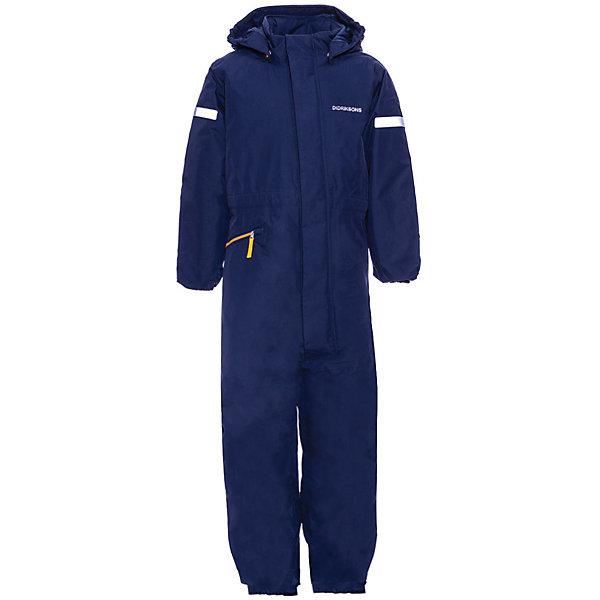 Комбинезон TYSSE DIDRIKSONS1913Верхняя одежда<br>Характеристики товара:<br><br>• цвет: синий;<br>• состав ткани: 100% полиамид;<br>• подкладка: 100% полиэстер;<br>• утеплитель: 140 гр/м2;<br>• сезон: зима:<br>• температурный режим: от 0 до -20С;<br>• застёжка: молния с защитой подбородка;<br>• особенности: мембранный;<br>• водонепроницаемость: 10000 мм;<br>• воздухопроницаемость: 5000 мм;<br>• все швы проклеены и водонепроницаемы;<br>• безопасный съёмный капюшон;<br>• регулируемая талия;<br>• увеличивающийся размер;<br>• мягкие эластичные манжеты на резинке;<br>• низ брючин на мягкой резинке;<br>• крепления на руку;<br>• резинки для ботинок;<br>• карман на молнии;<br>• светоотражающие элементы;<br>• страна бренда: Швеция.<br><br>Зимний детский комбинезон DIDRIKSONS BJORNEN. Можно носить до -20. Ткань мембранная, дышит, выводит лишнюю влагу (пот) наружу. Все швы проклеенные. Капюшон съемный. В морозы надеваем под низ флис. Комбинезон растет вместе с ребенком. Комфортный и один из теплых комбинезонов защитит ребенка в самую холодную и ветреную погоду.
