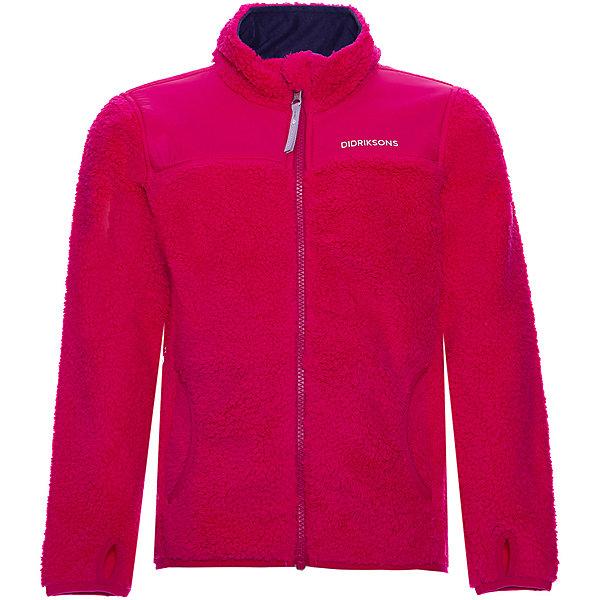 Демисезонная куртка Didriksons GeiteКуртки<br>Характеристики товара:<br><br>• состав ткани: 100% полиэстер, толстый пушистый ворс<br>• подкладка: 100% полиамид, плотная ткань<br>• утеплитель: без дополнительного утепления<br>• сезон: демисезон<br>• температурный режим: от +5 до +15С<br>• застёжка: молния с защитой подбородка<br>• особенности: флисовая<br>• куртка без капюшона<br>• эластичный материал<br>• манжеты с отверстием для больших пальцев<br>• карманы<br>• различные виды тканей<br>• светоотражающие элементы<br>• страна бренда: Швеция<br><br>Детская курточка Didriksons Geite - весной-летом носят самостоятельно, или как поддёву в морозы. Куртка застёгивается на молнию, манжеты с отверстием для большого пальца. Производитель рекомендует использовать термобелье и флисовую поддеву для сильных морозов.