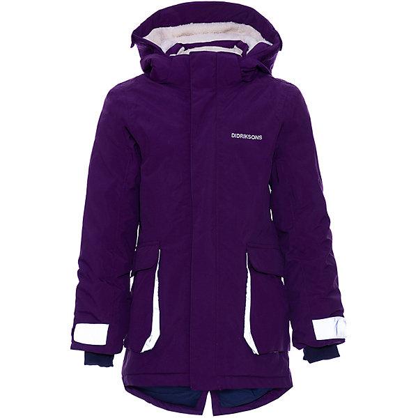 Парка Didriksons IndreВерхняя одежда<br>Характеристики товара:<br><br>• состав ткани: 100% полиамид<br>• подкладка: 100% полиэстер, мягкая подкладка<br>• утеплитель: 140 гр м/2<br>• сезон: зима<br>• температурный режим: от 0 до -20С<br>• застёжка: молния с защитой подбородка<br>• особенности: мембранная<br>• водонепроницаемость: 10000 мм<br>• воздухопроницаемость: 5000 мм<br>• все швы проклеены и водонепроницаемы<br>• безопасный съёмный и регулируемый капюшон<br>• регулируемые манжеты<br>• внутренний трикотажный манжет с отверстием для большого пальца<br>• крепления на руку<br>• молния скрыта планкой<br>• карманы<br>• светоотражающие элементы<br>• страна бренда: Швеция<br><br>Парка зимняя DIDRIKSONS INDRE, до -20. Не продувается, ткань отводит излишнюю влагу от тела и при этом не намокает от внешнего воздействия. Парка с безопасным съёмным капюшоном, который можно регулировать, также у куртки регулируемые манжеты. Имеются крепления для варежек или перчаток. Производитель рекомендует использовать термобелье и флисовую поддеву для сильных морозов.