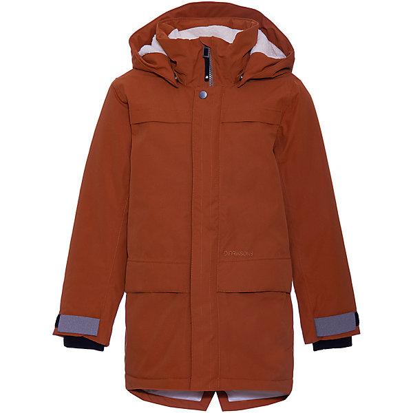 Куртка BJORLING DIDRIKSONS1913 для мальчикаВерхняя одежда<br>Характеристики товара:<br><br>• цвет: охра;<br>• состав ткани: 100% полиэстер;<br>• подкладка: 100% полиэстер;<br>• утеплитель: 120 гр/м2;<br>• сезон: зима:<br>• температурный режим: от +5 до -10С;<br>• в более холодную погоду можно носить с поддёвой;<br>• застёжка: молния с защитой подбородка;<br>• особенности: мембранная;<br>• водонепроницаемость: 10000 мм;<br>• воздухопроницаемость: 5000 мм;<br>• все швы проклеены и водонепроницаемы;<br>• ламинация, пропитка без фторуглерода - DWR finish;<br>• безопасный съёмный и регулируемый капюшон;<br>• молния скрыта планкой;<br>• регулируемые манжеты;<br>• внутренний трикотажный манжет с отверстием для большого пальца;<br>• карманы;<br>• светоотражающие элементы;<br>• страна бренда: Швеция.<br><br>Демисезонная детская куртка Didriksons Bjorling. Не продувается, ткань отводит излишнюю влагу от тела и при этом не намокает от внешнего воздействия. Куртка застёгивается на молнию с защитным клапаном от защемления подбородка, молния прикрыта дополнительной планкой.