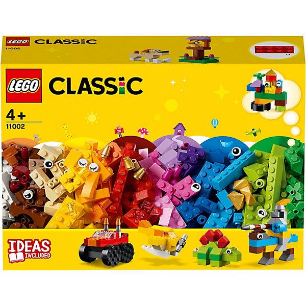Конструктор LEGO Classic 11002: Базовый набор кубиковКонструкторы Лего<br>Характеристики товара:<br><br>• материал: пластик<br>• количество деталей: 300<br>• серия: Classic<br>• инструкция в комплекте<br>• упаковка: картонная коробка<br>• страна бренда: Дания<br><br>Базовые кубики предлагают собрать самые разнообразные фигурки и постройки. Создай рыцаря на коне, который будет участвовать в турнире, милого динозавра, самолёт с винтом, грузовик-монстр. А также птичку в скворечнике, цветочек и забавного щенка. а используя фантазию можно создать совершенно новые и невероятные модели. Развивает усидчивость, терпеливость, мелкую моторику и воображение.