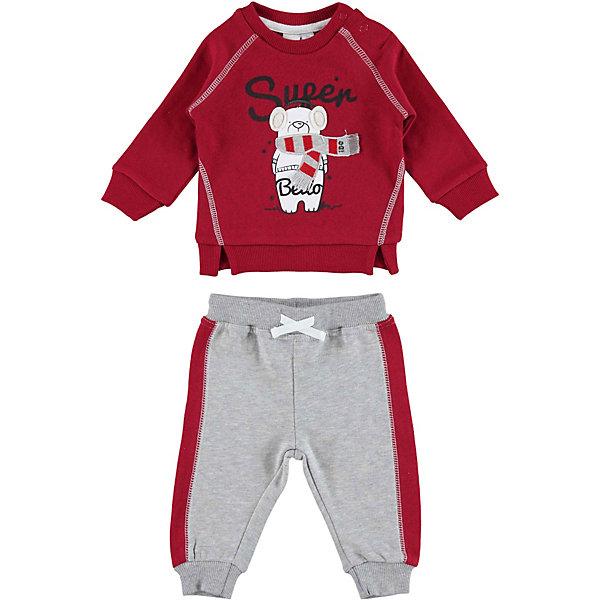 Комплект:футболка с длинным рукавом,брюки iDO для мальчикаКомплекты<br>Характеристики товара:<br><br>• состав ткани: 80% хлопок, 20% полиэстер<br>• сезон: демисезон<br>• застёжка: кнопки<br>• в комплекте: толстовка, брюки<br>• особенности: трикотажный, повседневный<br>• толстовка без капюшона<br>• усиленные вставки на локтях<br>• брюки на мягкой эластичной резинке с шнурком-завязкой<br>• декорирован принтом<br>• бренд: iDO<br>• страна бренда: Италия<br><br>Детский комплект удобный и комфортный. Выполнен из мягкого и приятного на ощупь материала. Толстовка для удобства надевания застёгивается на две кнопки на плече. Декорирована принтом и декоративными разрезами по низу. Манжеты на мягкой эластичной резинке, вырез горловины округлой формы. Брюки завязываются на шнурки для регулировки обхвата по талии, резинка не давит, а низ брючин на эластичных манжетах. Декорированы контрастными лампасами.