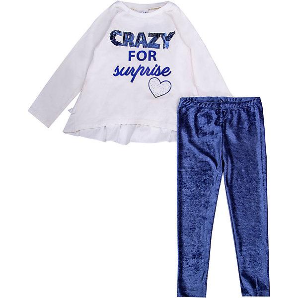 Комплект:футболка с длинным рукавом,брюки iDO для девочкиКомплекты<br>Характеристики:<br><br>• сезон: демисезон<br>• застёжка: без застёжки<br>• в комплекте: футболка с длинным рукавом, леггинсы<br>• декорирован принтом<br>• страна бренда: Италия<br><br>Футболка декорирована принтом спереди. Линия спинки удлинённая и отделана двойной линией оборок. Имеет свободный крой, не сковывающий движений. Леггинсы на мягкой эластичной резинке на талии, которая совершенно не давит на живот, хорошо тянутся.