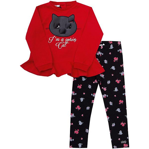 iDO Комплект: футболка с длинным рукавом, брюки iDO для девочки одежда для детей