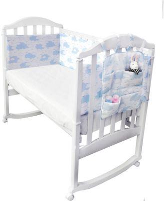 Борт в кроватку с органайзером Baby Nice  Облака  голубой, артикул:9339200 - Детский текстиль