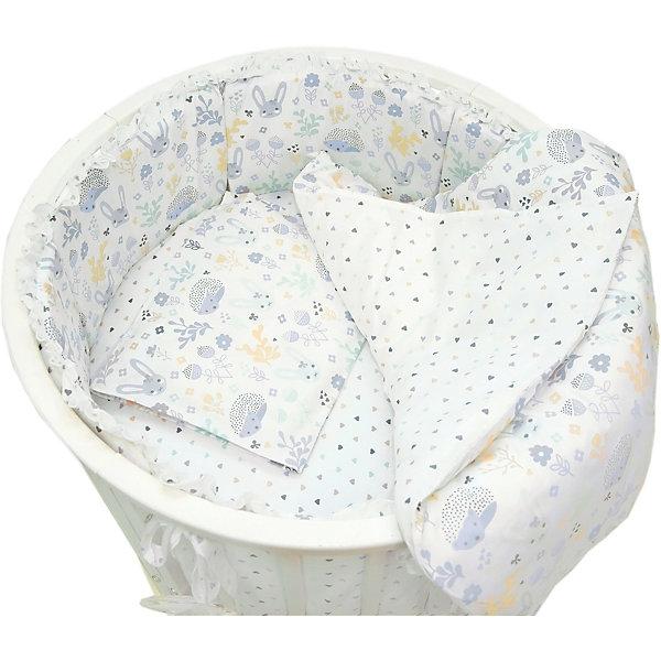 Baby Nice Комплект постельного белья для круглой кроватки Лесная поляна голубой