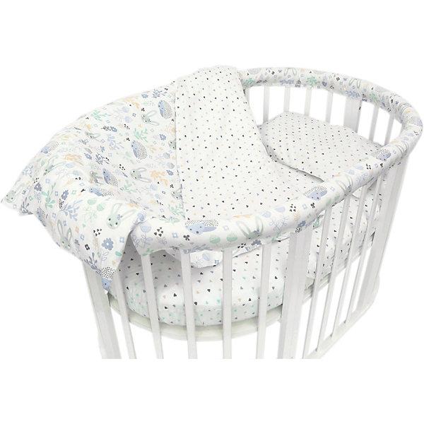 Baby Nice Комплект постельного белья для овальной кроватки Baby Nice Лесная поляна голубой постельное белье для малышей baby nice наволочка baby nice 60х40