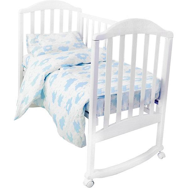 Baby Nice Комплект постельного белья на резинке Baby Nice Облака голубой baby nice подарочный набор для новорожденного baby nice облака голубой