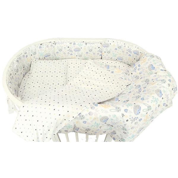 baby nice комплект в кроватку зайка 6 предметов цвет голубой Baby Nice Борт для овальной кроватки Baby Nice Лесная поляна голубой
