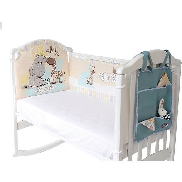 Baby Nice Борт в кроватку с органайзером Baby Nice Лучшие друзья споки ноки борт в кроватку с органайзером облака цвет голубой