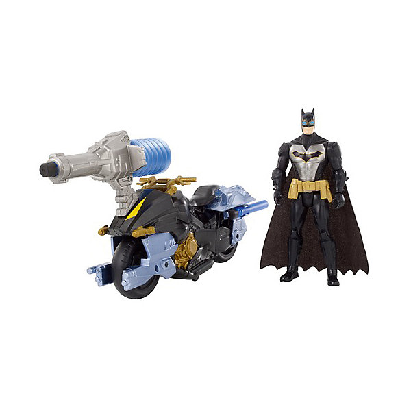 Mattel Мотоцикл DC Super Heroes Batman с фигуркой Бэтмена, 15 см mattel игровой набор dc super heroes imaginext трансформация бэтмена