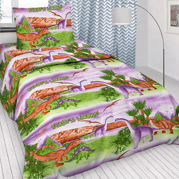 Детское постельное белье 1,5 сп Letto, Динозавры, розовыйДетское постельное бельё<br>Яркий комплект постельного белья в хлопковом исполнении и с хорошими устойчивыми красителями - по очень доступной цене! Эта модель произведена из традиционной российский бязи, плотного плетения. Такое белье прослужит долго и выдержит много стирок. Рекомендуется перед первым использованием постирать, но не пересушивать. Применение кондиционера при стирке сделает такое постельное белье мягче и комфортней. Пододеяльник на молнии. Обращаем внимание, что расцветка наволочек может отличаться от представленной на фото. Размер 1,5сп: пододеяльник 147х210см, простыня 150х210 см, наволочка 50х70 1шт.