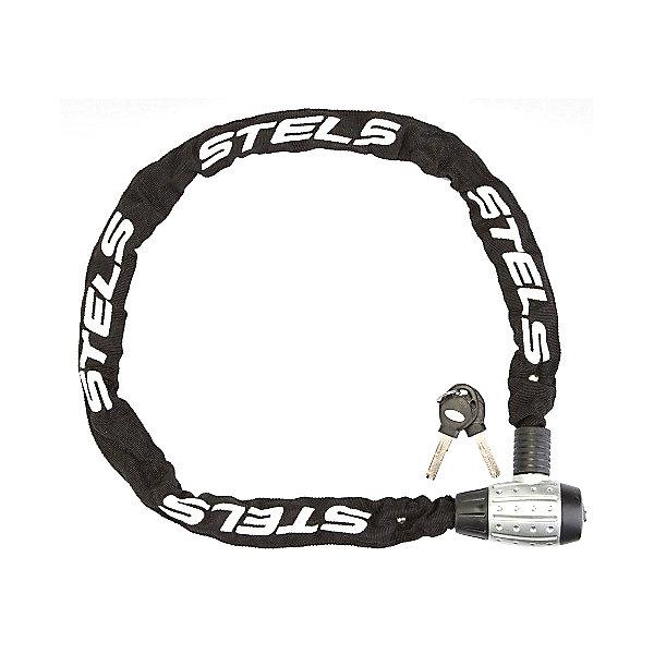 Stels Цепь-замок в тканевой оплетке Stels с ключом, серебристо-чёрный