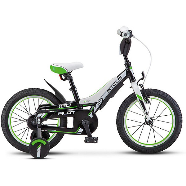Stels Велосипед Stels Pilot-180 16 дюймов, черно-зеленый