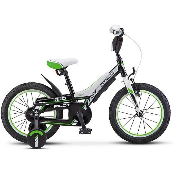 Stels Велосипед Pilot-180 18 дюймов, черно-зеленый
