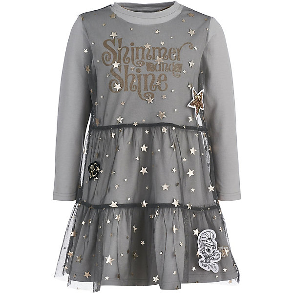Платье Button Blue для девочкиОдежда<br>Характеристики товара:<br><br>• цвет: серый;<br>• состав: 95% хлопок, 5% эластан/100% полиэстер;<br>• сезон: демисезон;<br>• застёжка: без застёжки;<br>• особенности: повседневное, нарядное;<br>• платье с длинным рукавом;<br>• платье с сетчатым покрытием сверху;<br>• декорировано принтом;<br>• коллекция: Шиммер и Шайн;<br>• страна бренда: Россия.<br><br>Трикотажное платье свободного кроя – идеальный вариант на каждый день. Трендовая форма и стильный дизайн делают модель привлекательной для девочек, следящих за модой. Удобная форма и оптимальная длина модели позволят девочке чувствовать себя уверенно, куда бы она ни направилась.