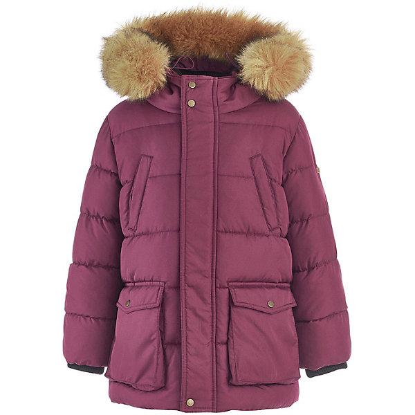 Утепленная куртка Button BlueКуртки<br>Характеристики товара:<br><br>• состав: 100% полиэстер;<br>• подкладка: 100% полиэстер/100% полиэстер, флис;<br>• утеплитель: 100% полиэстер, искусственный мех;<br>• сезон: зима;<br>• температурный режим: от -5 до -25С;<br>• застёжка: молния с дополнительной планкой на кнопках;<br>• пальто с капюшоном;<br>• искусственный мех на капюшоне;<br>• капюшон и мех не снимается;<br>• капюшон регулируется шнурком-утяжкой со стоппером;<br>• внутренний эластичный трикотажный манжет;<br>• пальто на флисовой подкладке;<br>• карманы с клапанами;<br>• нагрудные карманы;<br>• коллекция: Основная коллекция;<br>• страна бренда: Россия.<br><br>Зимняя детская куртка подарит ребенку тепло и уют в холодный день. Пальто имеет флисовую подкладку и утеплитель, капюшон оформлен искусственным мехом. Пальто застёгивается на молнию.