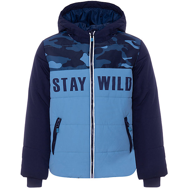 Куртка Play Today для мальчикаЗимние куртки<br>Характеристики товара:<br><br>• цвет: тёмно-синий/голубой;<br>• состав: 100% нейлон;<br>• подкладка: 100% полиэстер;<br>• утеплитель: 100% полиэстер, 260 г/м2;<br>• сезон: зима;<br>• температурный режим: от 0 до -20С;<br>• застёжка: молния с защитой подбородка;<br>• капюшон не отстёгивается;<br>• высокий воротник;<br>• гладкая подкладка из полиэстера;<br>• внутренний трикотажный эластичный манжет;<br>• карманы на молнии;<br>• коллекция: Каменные джунгли;<br>• страна бренда: Германия.<br><br>Куртка Play Today для мальчика. Оригинальная куртка приятной цветовой гаммы с элементами милитари стиля и модным принтом в виде надписи выглядит очень эффектно! Надежная застежка-молния, вместительные карманы, высокий воротник, сплошной объемный капюшон, трикотажные резинки-манжеты – детали, которые подтверждают правильность выбора!