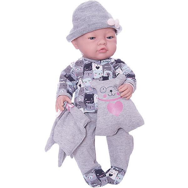 Paola Reina Кукла Paola Reina Бэби с одеяльцем и подушкой-медвежонок, 45 см paola reina кукла вики 47 см paola reina