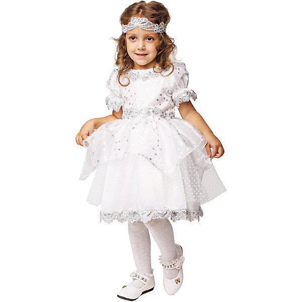 Пуговка Карнавальный костюм Пуговка Снежинка платье без рукавов с кружевной вставкой на спинке