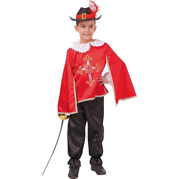 Купить Карнавальный костюм Пуговка Мушкетер красный , Россия, 146, 128, 122, 116, Мужской