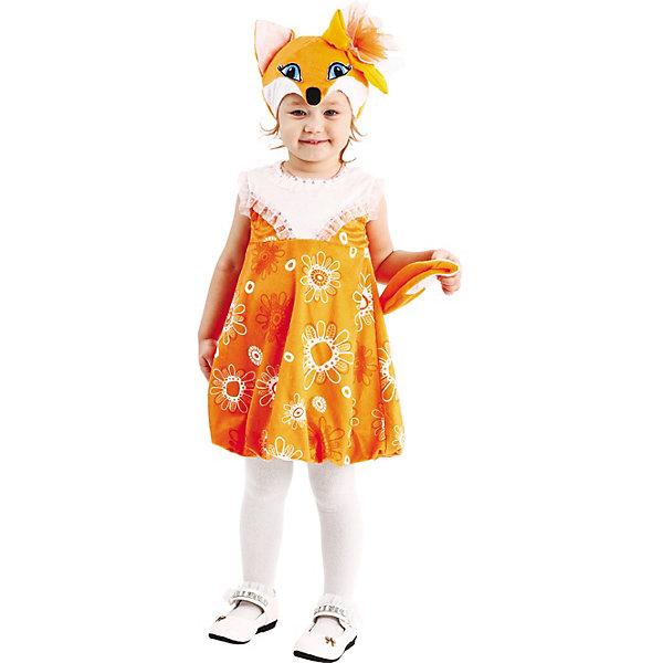 Карнавальный костюм Пуговка Лиса АлоськаНовогодние карнавальные костюмы для детей<br>Характеристики товара:<br><br>• цвет: оранжевый;<br>• состав: 100% полиэстер;<br>• в комплекте: платье, шапка-маска;<br>• застёжка: молния на спинке;<br>• оранжевое платье выше колена;<br>• принт в цветочек на юбке;<br>• короткий рукав из прозрачного материала;<br>• воротник и грудь расшиты стразами;<br>• подол с резинкой;<br>• лисий хвост сзади;<br>• шапка с ушками, мордочкой лисы и бантиком;<br>• коллекция: Плюшки-игрушки;<br>• бренд: Пуговка;<br>• страна бренда: Россия.<br><br>Костюм Лисы в новом исполнении от бренда Пуговка, стал еще более интересным и уникальным. Нарядный карнавальный костюм Лиса Асолька, состоит из ярко-рыжего принтованного в цветок платья и расшито пайетками. Маска-шапка в виде мордочки лисы с нарядным бантом из сетки.              Застежка молния по спине.