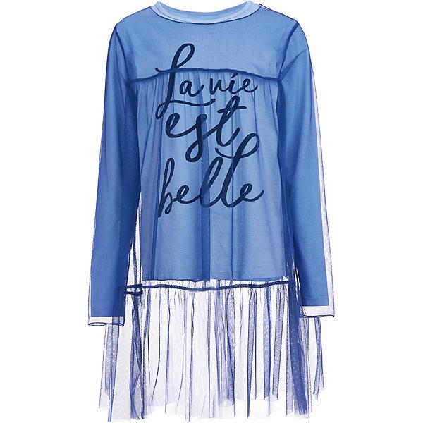 Комплект: футболка и туника Gulliver для девочкиОдежда<br>Характеристики товара:<br><br>• цвет: голубой/синий;<br>• состав: футболка 95% хлопок, 5% эластан/туника 100% полиэстер;<br>• сезон: демисезон;<br>• в комплекте: футболка, туника;<br>• особенности: повседневный;<br>• футболка с длинным рукавом;<br>• полупрозрачная туника;<br>• декорирована принтом;<br>• коллекция: Итальянские каникулы;<br>• страна бренда: Россия.<br><br>Оригинальный комплект, состоящий из двух вещей: полупрозрачной туники, выполненной из модной сетки и футболки с длинным рукавом, - трендовая модель сезона. Расклешенная двухъярусная туника и футболка с крупным шрифтовым бархатистым декором, видимым под тонкой полупрозрачной сеткой, выглядят интересно и оригинально, благодаря сочетанию фактур и легкой свободной форме. С джинсами, с брюками, этот комплект будет выглядеть безупречно, составляя современный молодежный look.