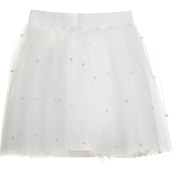 Юбка Gulliver для девочкиОдежда<br>Характеристики товара:<br><br>• цвет: молочный;<br>• состав: 100% полиэстер;<br>• подкладка: 100% хлопок;<br>• сезон: круглый год;<br>• застёжка: юбка на резинке;<br>• особенности: нарядная;<br>• пышная юбка из сетки;<br>• юбка на подкладке;<br>• декорирована бусинами-жемчужинами;<br>• коллекция: Иней;<br>• страна бренда: Россия.<br><br>Пышная юбка из сетки, в коллекции Иней на своем месте. С белой или контрастной бархатной блузкой и жакетом, оформленным кружевом, белая юбка составит красивый элегантный комплект. В ней девочка будет чувствовать себя комфортно.