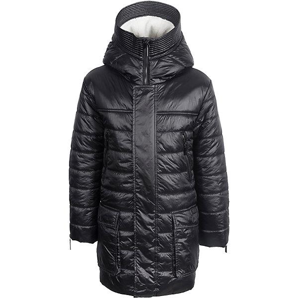 Пальто Gulliver для мальчикаПальто и плащи<br>Характеристики товара:<br><br>• цвет: чёрный;;<br>• состав: 100% полиэстер;<br>• подкладка: 100% полиэстер;<br>• утеплитель: 100% полиэстер, синтепон;<br>• сезон: демисезон;<br>• температурный режим: от +5 до -10С;<br>• застёжка: молния;<br>• ветрозащитная планка на кнопках;<br>• капюшон не отстёгивается;<br>• внутренняя меховая отделка в капюшоне;<br>• боковые молнии на рукавах;<br>• два накладных кармана с клапанами;<br>• два нагрудных кармана на молнии;<br>• коллекция: Скарабей;<br>• страна бренда: Россия.<br><br>Демисезонное пальто должно сочетать в себе все необходимые требования к внешнему виду и функциональности! Пальто из коллекции Скарабей - пример того, каким должно быть осеннее пальто для мальчика. Модная удобная форма, легкость, интересный дизайн, -  пальто на синтепоне выглядит привлекательно и обладает всеми необходимыми функциональными деталями для комфортной повседневной носки.