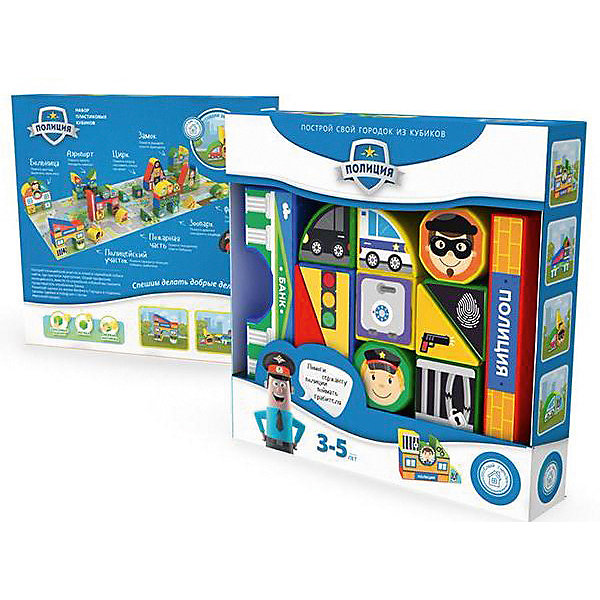 """Картинка для Пластиковые кубики Magneticus """"Полиция"""", 12 кубиков"""