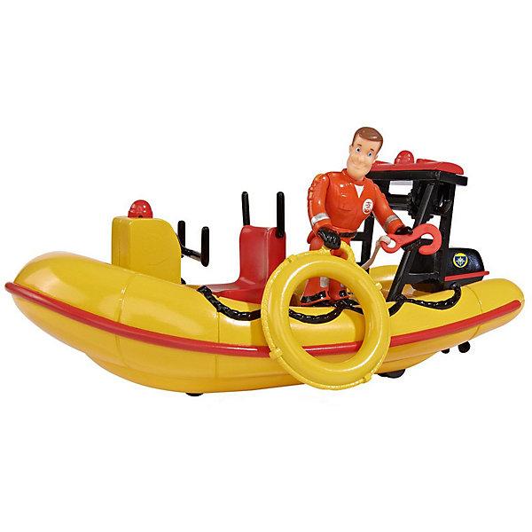 Игровой набор Simba Пожарный Сэм Лодка спасателей с аксессуарамиКорабли и лодки<br>Характеристики товара:<br><br>• возраст: от 3 лет;<br>• материал: пластик;<br>• в комплекте: лодка спасателей, фигурка, каска, принадлежности пожарника;<br>• тип батареек: 2 батарейки ААА;<br>• наличие батареек: в комплекте;<br>• высота фигурки: 20 см;<br>• размер упаковки: 25х15х15 см;<br>• вес упаковки: 300 гр.<br><br>Игровой набор «Пожарный Сэм: Лодка спасателей» создан по мотивам известного мультсериала «Пожарный Сэм». В наборе представлена фигурка персонажа и его спасательная лодка с принадлежностями пожарника. У фигурки подвижные руки и ноги, ее можно посадить за штурвал лодки.<br><br>Лодка оборудована лебедкой с крюком для крепления спасательных кругов. На дне лодки есть небольшие колесики, благодаря которым ее можно катать по поверхности. При нажатии на кнопку будут слышны звуки работающего мотора.