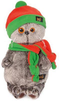 Мягкая игрушка Budi Basa Кот Басик в оранжево-зеленой шапке и шарфике, 22 см, артикул:9396360 - Мягкие игрушки
