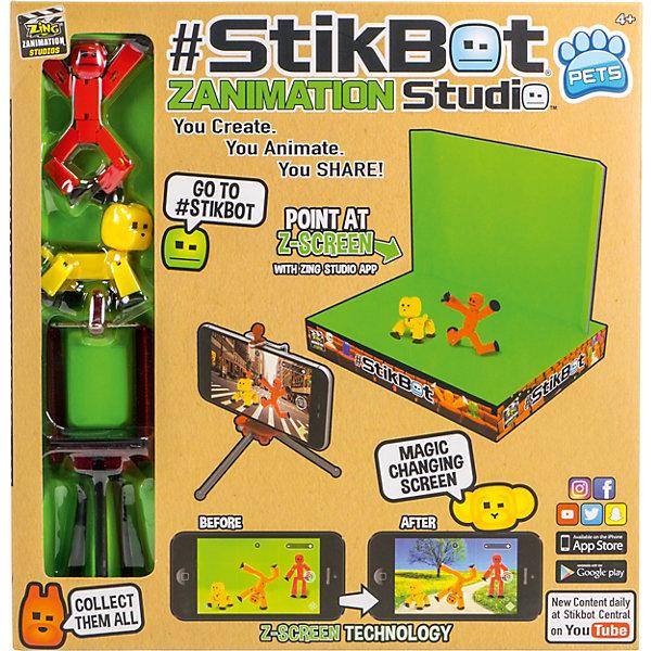 Zing Анимационная студия Stikbot со сценой и питомцем, красный человек, желтый пес