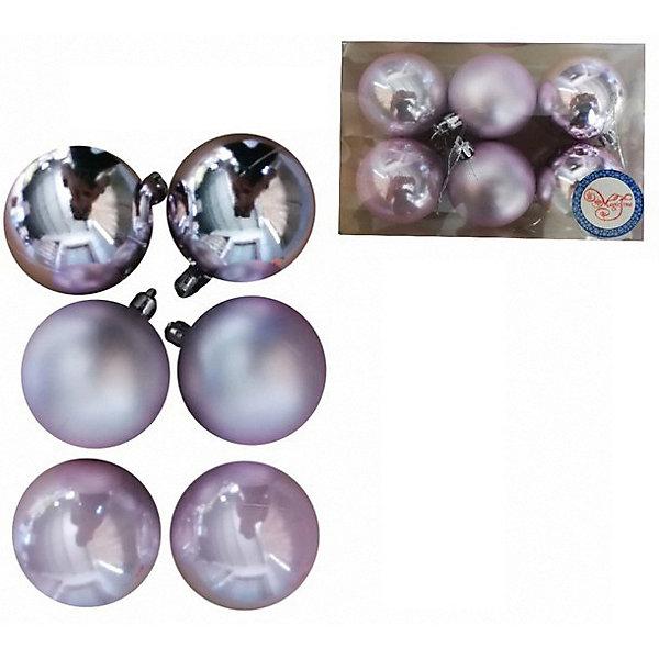 Феникс-Презент Набор ёлочных шаров Розовые шары, 6 шт