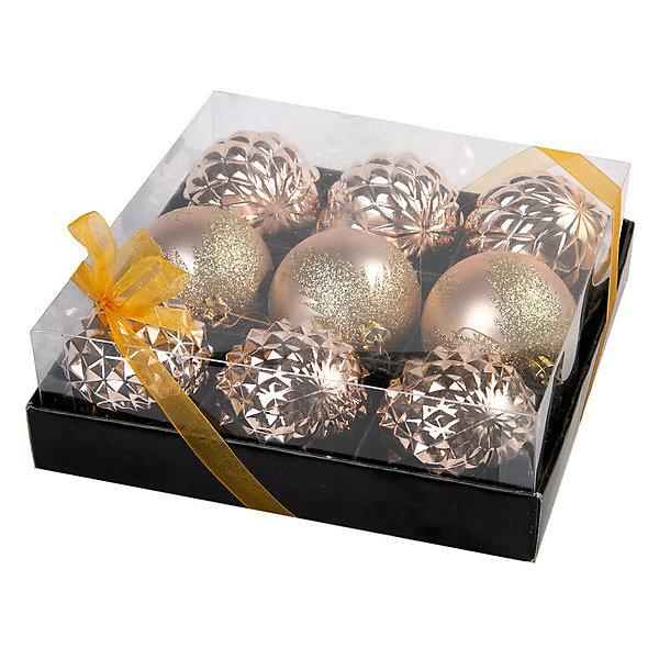 Феникс-Презент Набор ёлочных шаров Медные шары, 9 шт набор ёлочных игрушек русские подарки шары цвет розовый 6 см 6 шт