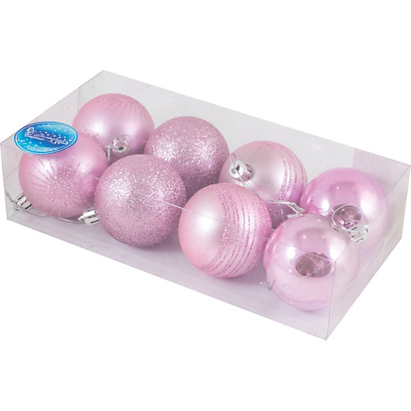Волшебная страна Набор елочных шаров Magic Land розовый, 8 штук