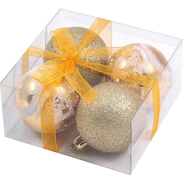 Волшебная страна Набор елочных шаров Magic Land золото с белым, 4 штуки