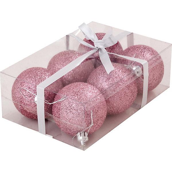 Волшебная страна Набор елочных шаров Magic Land розовый, 6 штук