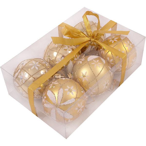 Волшебная Страна Набор елочных шаров Magic Land золото с белым, 6 штук набор шаров пластик 100мм 2шт ледяное золото