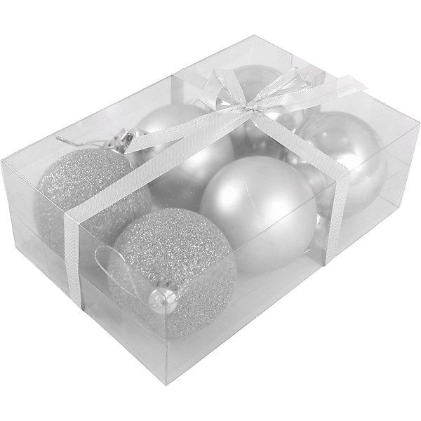 Волшебная страна Набор елочных шаров Magic Land серебряный, 6 штук
