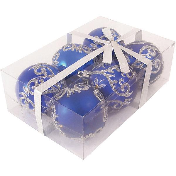 Волшебная Страна Набор елочных шаров Magic Land синий с серебром, 6 штук волшебная страна набор елочных шаров magic land 6 шт 6 см розовые