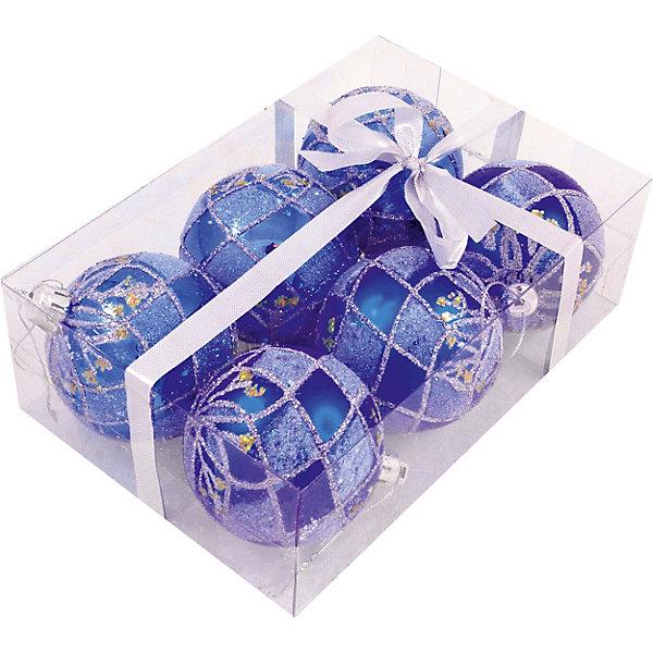 Волшебная Страна Набор елочных шаров Magic Land синий, 6 штук волшебная страна набор елочных шаров magic land 6 шт 6 см желтые
