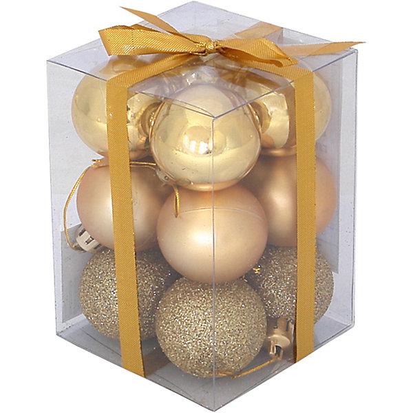 Волшебная страна Набор елочных шаров Magic Land золотой, 12 штук