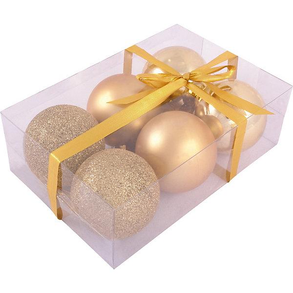 Волшебная Страна Набор елочных шаров Magic Land золотой, 6 штук волшебная страна набор елочных шаров magic land 6 шт 6 см желтые