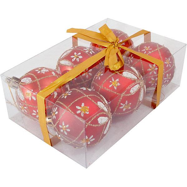 Волшебная Страна Набор елочных шаров Magic Land красный с белым, 6 штук волшебная страна набор елочных шаров magic land 6 шт 6 см розовые