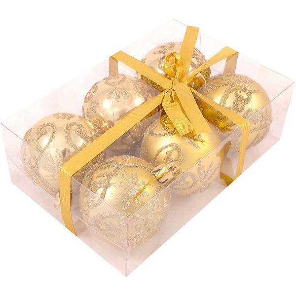 Волшебная страна Набор елочных шаров Magic Land золотой, 6 штук magic time набор новогодних шаров золотой с золотым орнаментом magic time 6 см пластик 6 шт