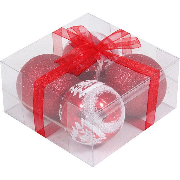 Волшебная Страна Набор елочных шаров Magic Land красный с белым, 4 штуки mercury постельные принадлежности набор 4 штуки простыня с набивной чехол на одеяло 100