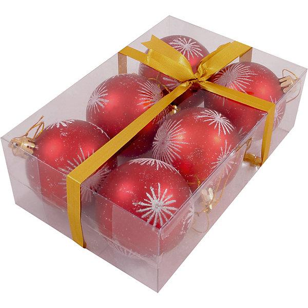 Волшебная Страна Набор елочных шаров Magic Land красный с белым, 6 штук волшебная страна новогодний венок из шариков magic land 33 см красный золотой